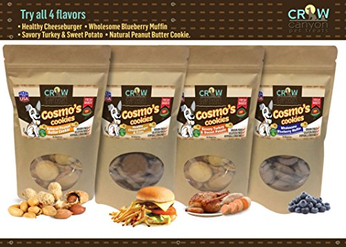 Grain Free Dog Treats Gluten Free Biscuits Cookies Snacks Hypoallergenic All Natural Human Grade by Cosmo's Cookies Made in USA