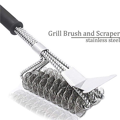 - Daphnee Grill Brush & BBQ Cleaning Scraper - 100% Safe Bristle Free Grill Cleaner - Best Barbecue Brush Porcelain, Propane, Electric, Infrared, Stainless Steel, Gas, Iron Weber Grill Grates