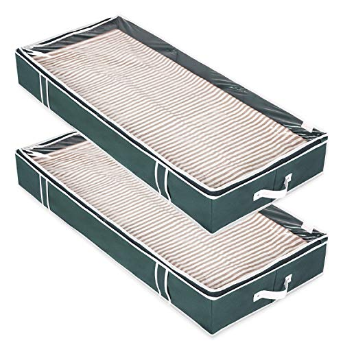 Magicfly Under Bed Storage Containers, Sturdy Cardboard in Each Side & Upgrade Zipper & Transparent Top Underbed Bags for Tidy Up Your Closets, Blankets, Linen Cloth, Pack of 2, Dark Green