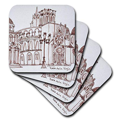 3dRose Danita Delimont - Spain - Valencia Cathedral in Plaza de la Virgin, Old town, Valencia, Spain - set of 8 Coasters - Soft (cst_313872_2)