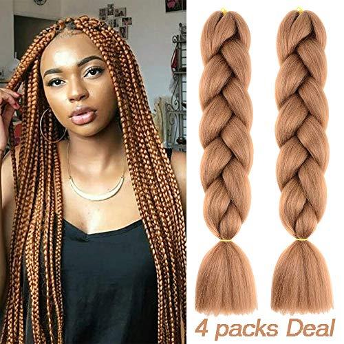 - MYCHANSON Jumbo Braiding Hair Long Kanekalon Synthetic High Temperature Fiber African Twist Braids Hair Extensions (4pcs & Brown)