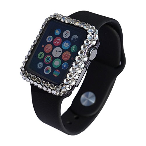 Bling Rhinestone Diamond Cover (FLYFOX fashion full 3d bling diamond rhinestone girly women bumper case cover for apple watch series 1 38mm (black,38mm))