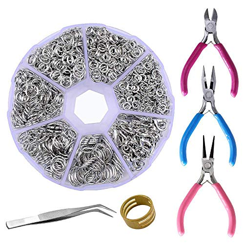 Supla Jewelry Making findings Open Jump Rings 4mm 5mm 6mm 7mm 8mm 10mm 21 Gauge and 19 Gauge,Lobster Claw Clasp 12 x 7mm and Round Nose Pliers, Flat Nose Pliers, Side-Cutting Pliers (Dull Silver) (Used Jewelry Tools)