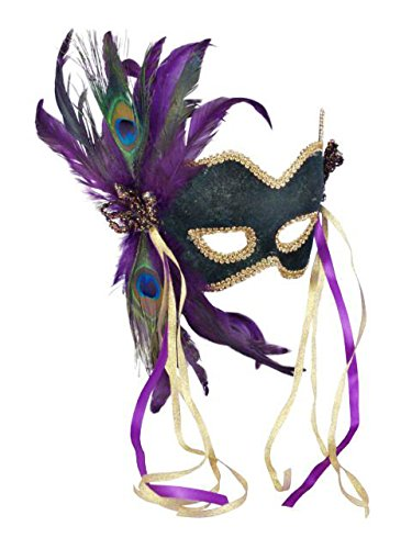 Purple Costume Feather Mask - Forum Deluxe Half Mask With Peacock Feathers, Green, One Size