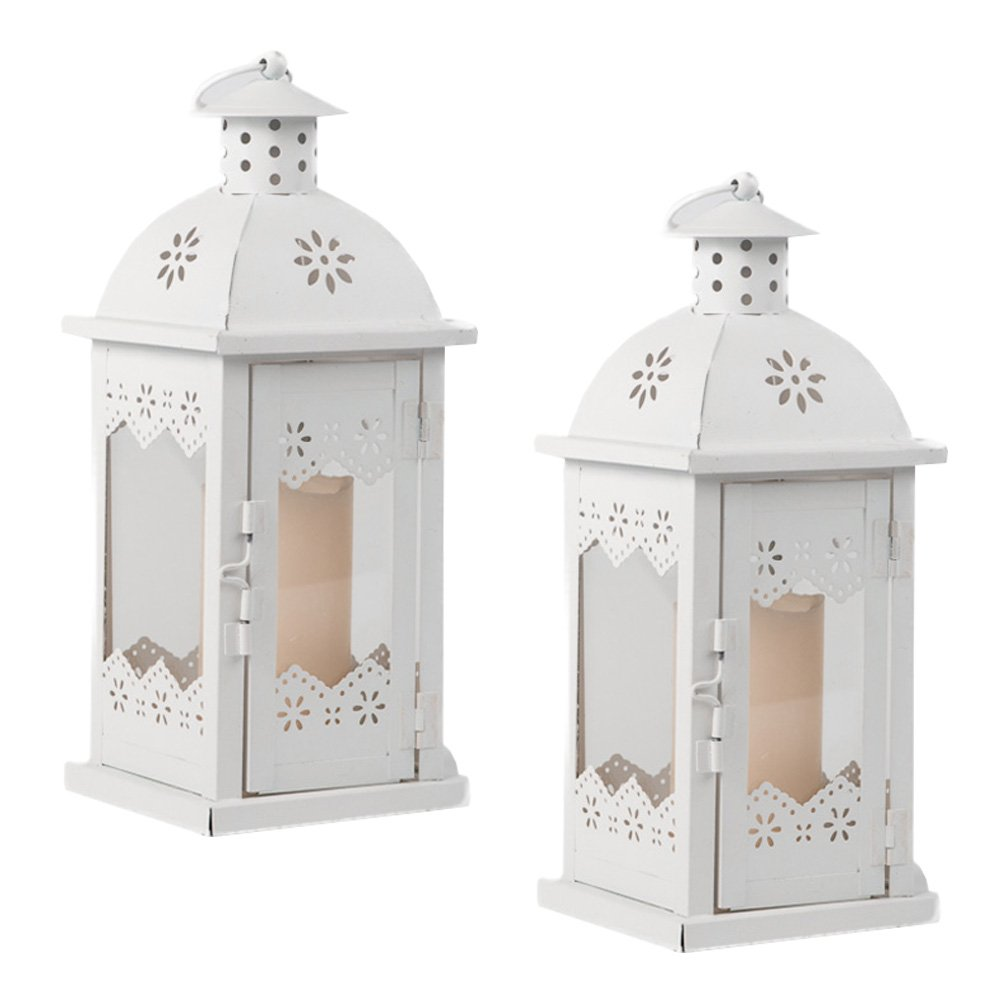Romantic Decorative Metal Lantern Candle Holders Set of 2 | ChristmasTablescapeDecor.com