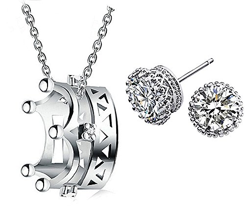 Majesto 925 Sterling Silver Crown Pendant Necklace Round Stud Earrings Set for Women Teen Girls Gift