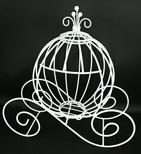 DPC Decorative White Metal Cinderella Pumpkin Carriage Wedding or Party Table Decor (13