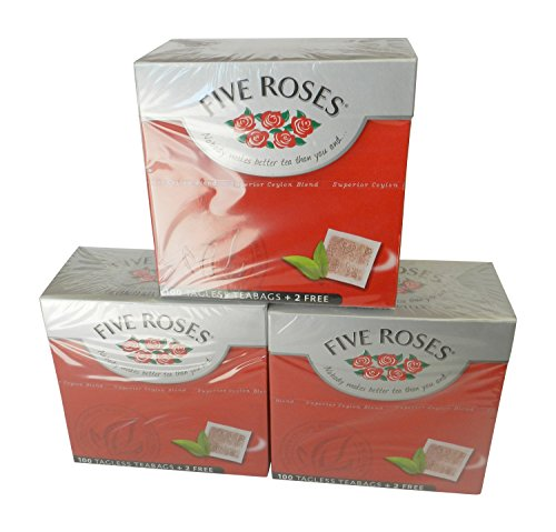 Five Roses Tea, 100 Tagless Teabags (3 Box of 100 Teabags)