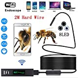 Wireless Endoscope,1200P HD Wifi Borescope Inspection Camera 2.0 Megapixels Hotop 8 LEDs Waterproof Snake Camera Wire for Android and IOS System,Smartphone,iPhone,Samsung,Tablet and Mac (2 Meters)