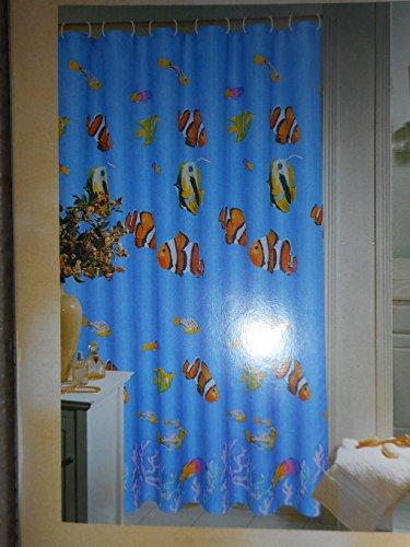 Aqua Water Color Aquarium Fish Fabric Shower Curtain