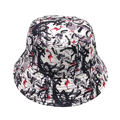 Quanhaigou Unisex Bucket Hat Orignal Summer Boonie Cap Graffiti Fisherman Reversible Packable Hats (Black White) ()