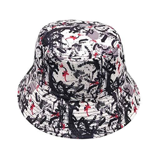 Quanhaigou Unisex Bucket Hat Orignal Summer Boonie Cap Graffiti Fisherman Reversible Packable Hats (Black White) ()