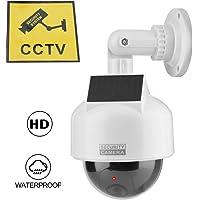 Tosuny Cámara de Seguridad Falsa simulada, cámara de CCTV Domo para Interiores y Exteriores con una cámara de Seguridad de Advertencia de luz LED para el hogar/almacén