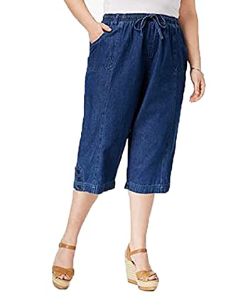 683b608d5015b Karen Scott Womens Plus Denim Cropped Capri Pants Blue 1X at Amazon ...