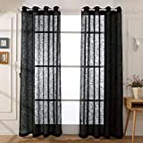 Guken Semi Sheer Window Curtains Set of 2 Voile Drapes, Each Panel 54″ Wx95 L (Black, 2 Panels) For Sale