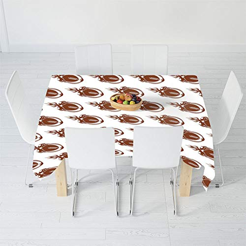 Soft Tablecloth,American Football,for Buffet Table Parties Holiday Dinner Wedding & More,102 X 60 Inch,Speedy Flaming Rugby Balls Fire Trails Champion
