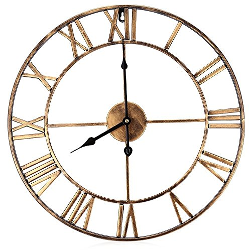 Large Metal Decorative Round Wall Clock Linpote 20 Inch 3D Hollow Out Wrought Iron Non-Ticking Silent Wall Clock with Roman Numeral for Office Living Room Bedroom Kitchen (Golden)