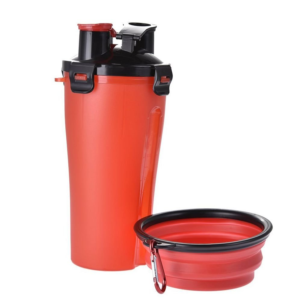 Chilie Outdoor Travel Pet Water Bottle Portable Dog Water Dispenser with Foldable Bowl for 350ml Water/250g Dog Food
