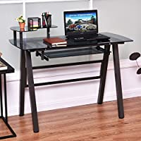Black Modern Glass Top Computer Desk with Printer Shelf | Perfect Contemporary Home Office or College Student Dorm Table for Your PC, Laptop, Monitor, Printer and Supplies