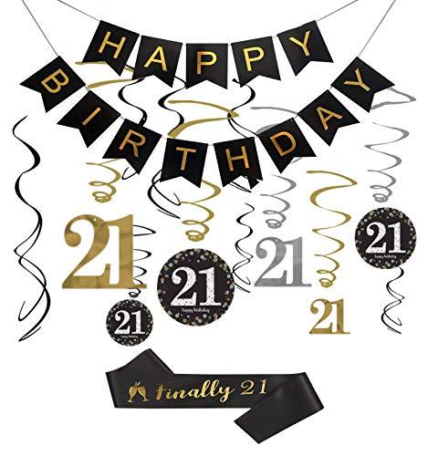 21st Birthday Decorations Kit - Happy Birthday Banner, 12Pcs Sparkling 21 Hanging Swirl Decorations,Finally 21 Birthday Sash, Perfect 21st Gift for Her.