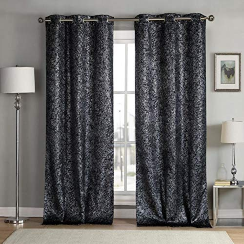 kensie Maddie Silver Metallic Textured Blackout Darkening Grommet Top Window Curtains Pair Drapes for Bedroom, Living Room-Set of 2 Panels, W38