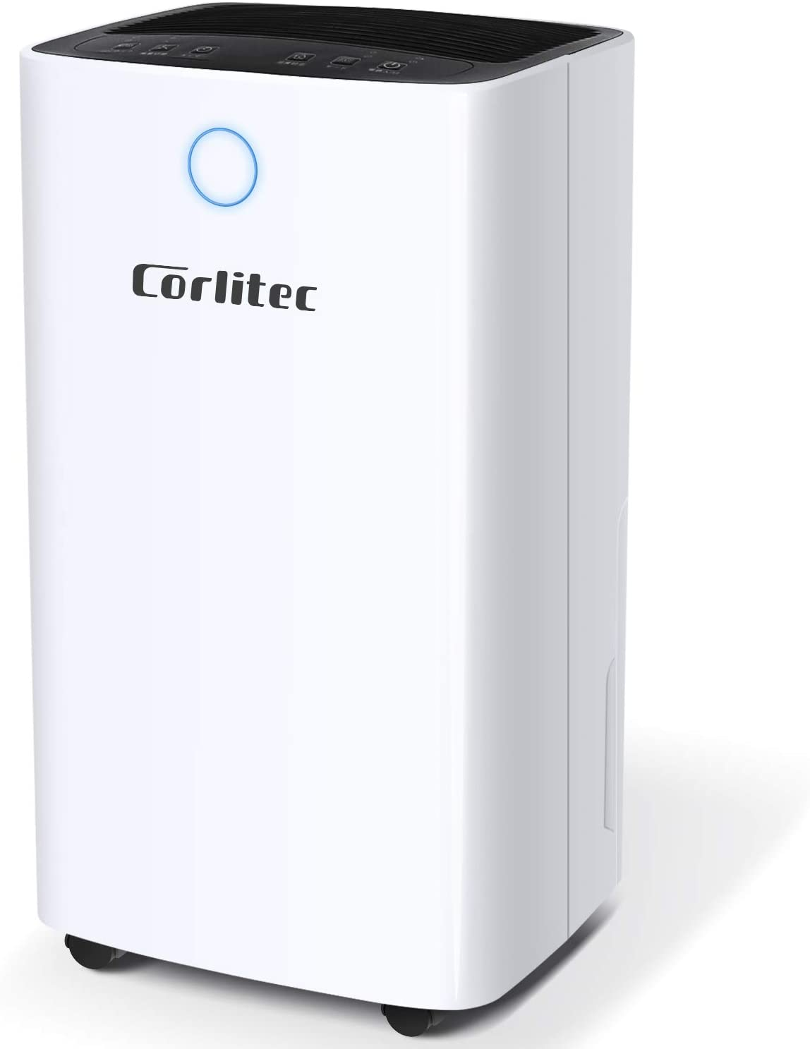 Corlitec Dehumidifier for Home and Basements 25 Pints Efficiency for 1500 Sq.Ft, 68oz(0.53gallon) Water Tank with Drain Hose, Intelligent Humidity Control, Childlock, Laundry Dry