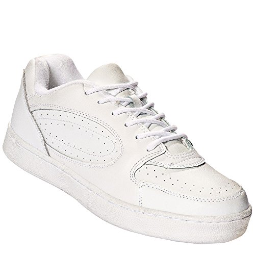 Benefit Wear Mens or Womens Lace Sneaker Shoe- Wide (Mens 7 Womens 9, White)
