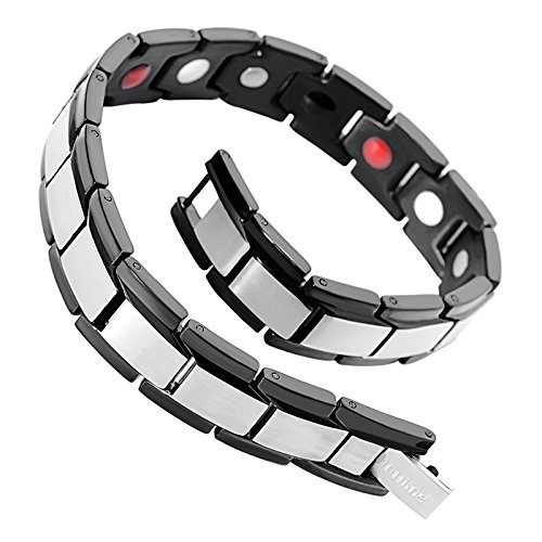 Amazon.com: Hottime Black Stainless Steel Magnetic Therapy Bracelet Pain Relief for Arthritis and Carpal Tunnel (Black & Silver): Sports & Outdoors
