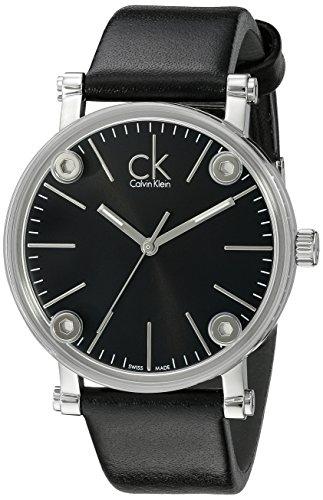 Calvin Klein Men's K3B2T1C1 'Congent' Black Dial Black Leather Strap Watch by Calvin Klein