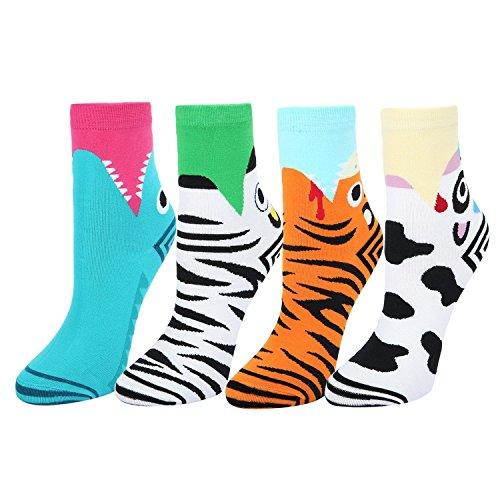 Women's Novelty Funny Crew Socks Fun Wide Mouth Shark Cow Lion Zebra - Designer Womens Watches Plus Size