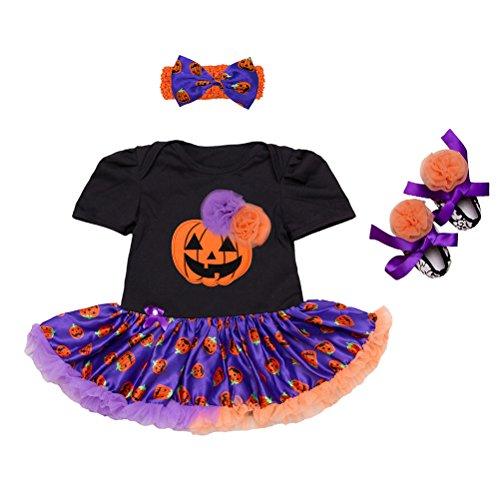Zhhlinyuan Recién Nacido Bebé Chicas' Halloween Vestido de Mameluco Encaje de tul Traje de Falda de Tutú -