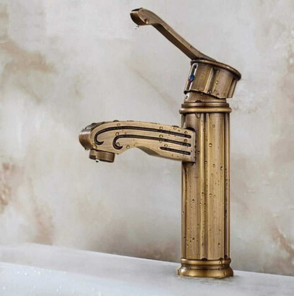 Kitchen Sink Taps Bathroom Sink Taps Bathroom Basin Faucets Antique Brass Finished Hot And Cold Mixer Taps Deck Mounted Carving Faucet