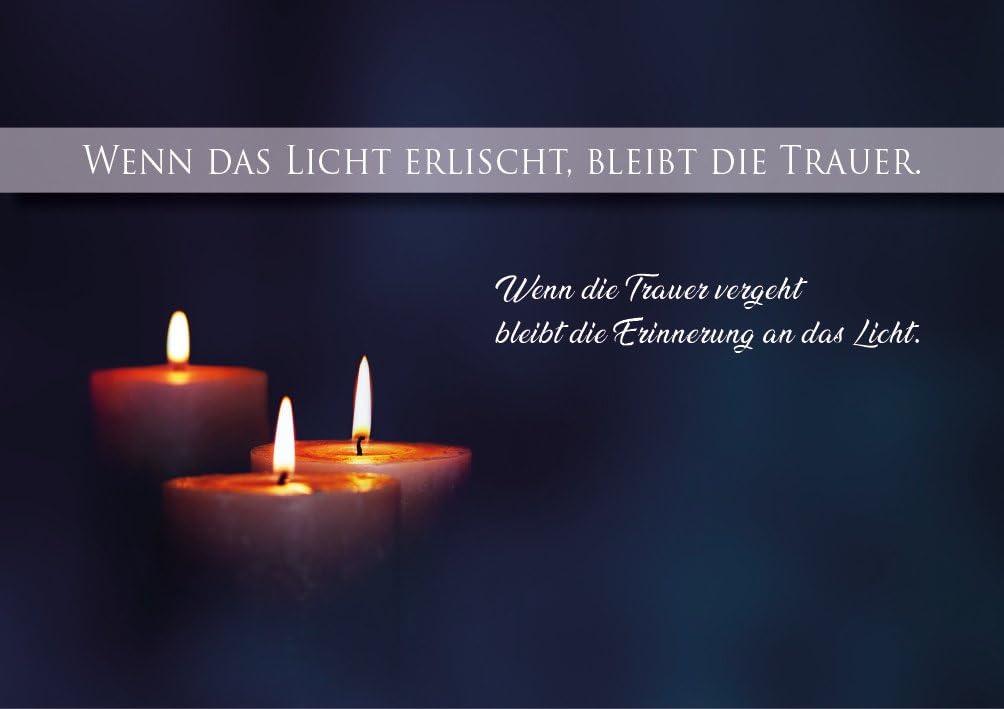 """Trauerkarte, Beileidskarte, Abschied, Doppelkarte mit Kuvert und Kerzen  Motiv""""Wenn das Licht erlischt, bleibt die Trauer"""": Amazon.de: Bürobedarf &  Schreibwaren"""