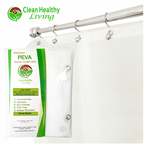 Heavy Duty Extra Long PEVA Shower Liner / Curtain: Odorless & Mildew Resistant (with Suction Cups). Eco Friendly 70 x 78 in. long - White (Commercial Shower Curtains)