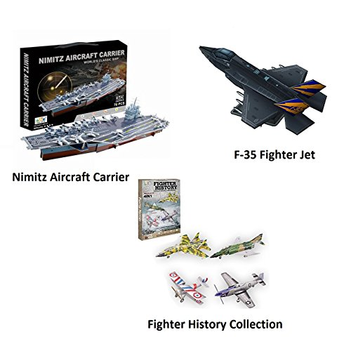 Top Race 3D Puzzle, 3 Pack of Nimitz Aircraft Carrier and Fighter Jet Set Puzzles, No Glue, No Scissors, Easy to Assemble. Set of 3 Puzzles