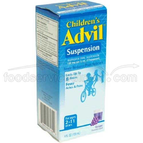 Advil Suspension Childrens Grape Flavored Liquid, 4 Ounce - 3 box per pack -- 12 packs per case.