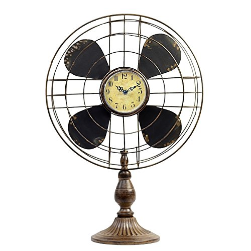 Old Fashion Vintage Retro Industrial Style Table Fan Clock