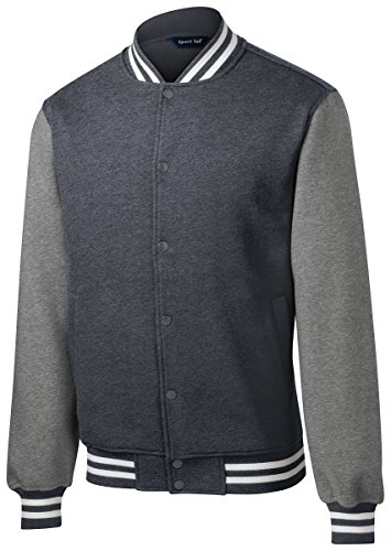 Twill Letterman Jacket - Sport Tek Men's Comfortable Fleece Letterman Jacket Graphite Grey Medium