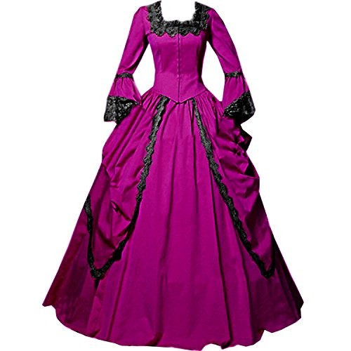 Dress Venice Lace - I-Youth Womens Lace Marie Antoinette Masked Ball Victorian Costume Dress (L, Rose red)