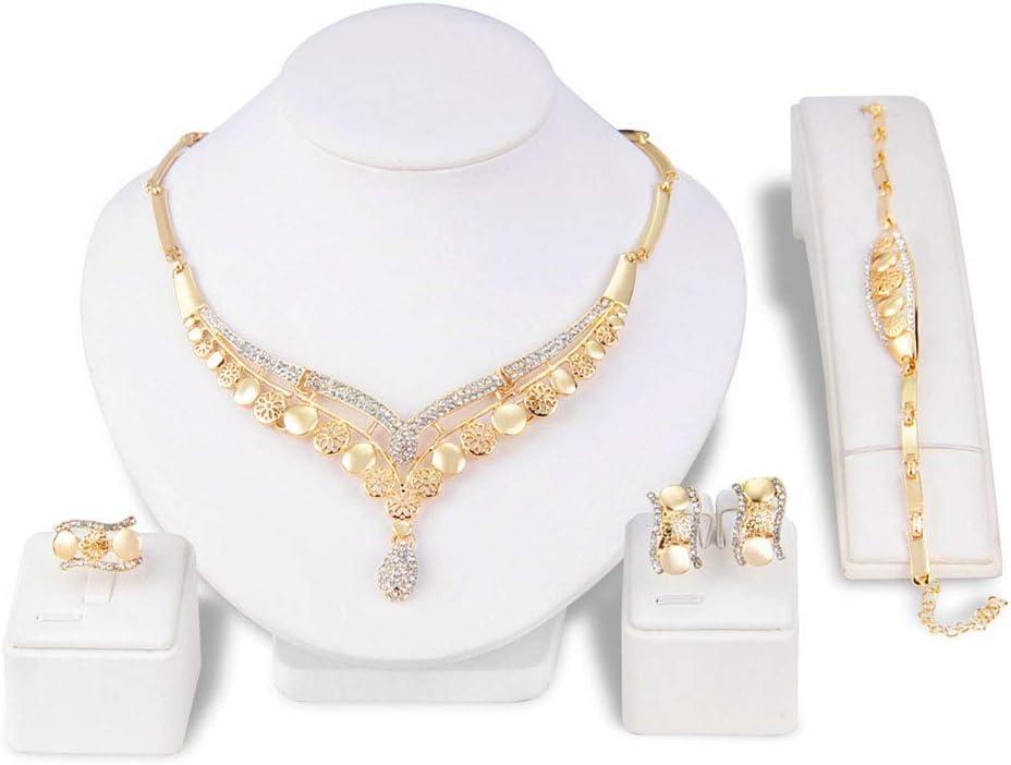 Amazon Com Ltlwl Women S Jewelry Set Shiny Crystal Diamond Necklace Set Bridal Wedding Party Necklace Earrings Bracelet Ring Set Of 4 Home Kitchen