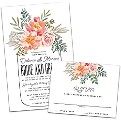 Floral Mason Jar Personalized Wedding Invitations and RSVP Cards