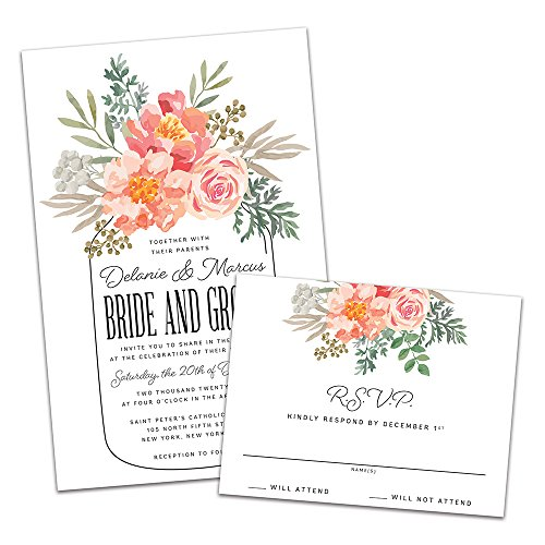 Wedding Belle Invitations - Floral Mason Jar Personalized Wedding Invitations and RSVP Cards