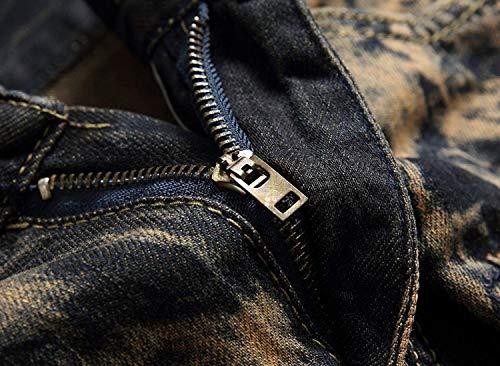 In Dritti Stile Vita Casual A Bassa Elasticizzati Jeans Retroyellow Strappati Senza Denim Semplice Lanceyy Skinny Uomo Da Cinturino Pantaloni wzq0x16