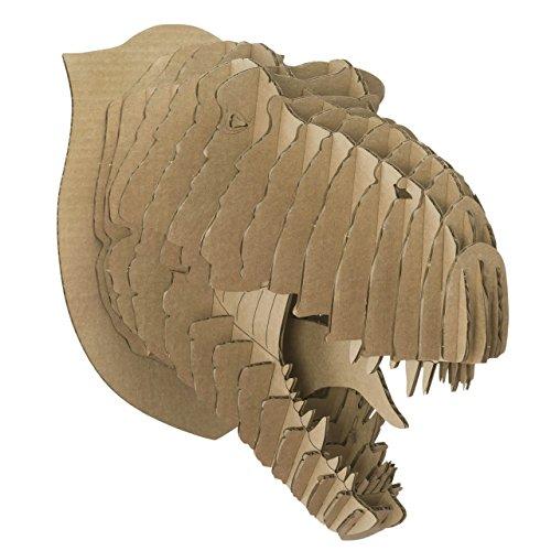 Cardboard Safari Recycled Cardboard Animal Taxidermy T-Rex Trophy Head Rex Brown Small]()