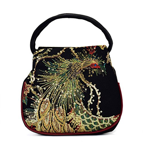 Handbag Bag Small Blue Ethnic Women Phone Peacock JAGENIE Retro Canvas Black Case Pouch Embroidery wZBxY8MqAU