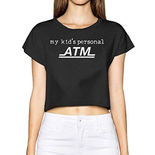 Clemson Piggy Bank (Richard Women My Kid's Personal ATM Jogging Black Short Sleeve Crop Top Tee M)