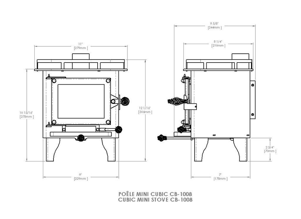 CUBIC Cub Mini Wood Stove - CB-1008 (Black/Brass) by CUBIC