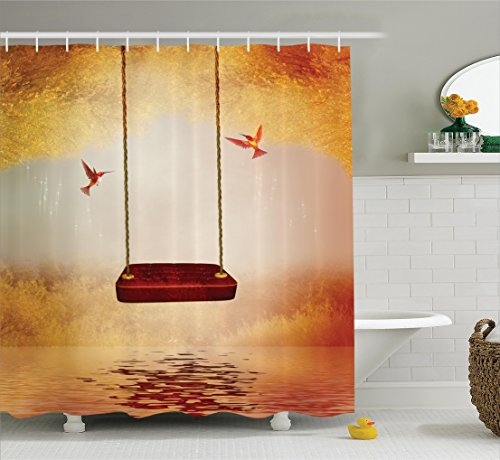 Rug Ivory By 05 (Ambesonne Hummingbirds Decorations Collection, Red Hammock and Hummingbird in a Peaceful Lake Fantasy Fairytale Scene Image, Polyester Fabric Bathroom Shower Curtain Set with Hooks, Red Ivory)