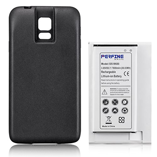 Perfine Battery 7800mAh Compatible with Samsung Galaxy S5 i9600, Extended Battery EB-BG900BBC with NFC for I9600, G900F, G900 Battery+Black TPU Protective case [180-day Warranty] ()