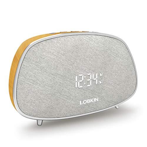 Bluetooth Speaker, Dual Alarm Clocks Snooze Muilti-Function, Stereo HiFi Sound Portable Home Audio, FM Radios, 10W Build in Mic TWS Support,Classic Wooden waterprint Wireless Speaker